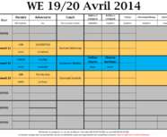 Programme du week-end du 19-20 avril